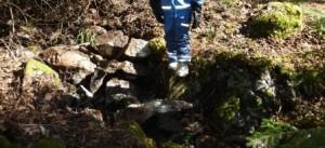 Sprängd bergsklack  efter igensättning 2012-04-07, sett söderifrån